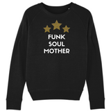 Black sweatshirt with white Funk Soul Mother slogan and three yellow and pink leopard print stars