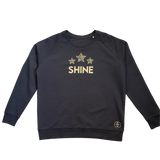 Black Christmas sweatshirt with gold glitter Shine slogan and gold glitter leopard print stars