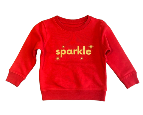 Mini Sparkle sweatshirt in red ages 3-4ys and 9-11ys