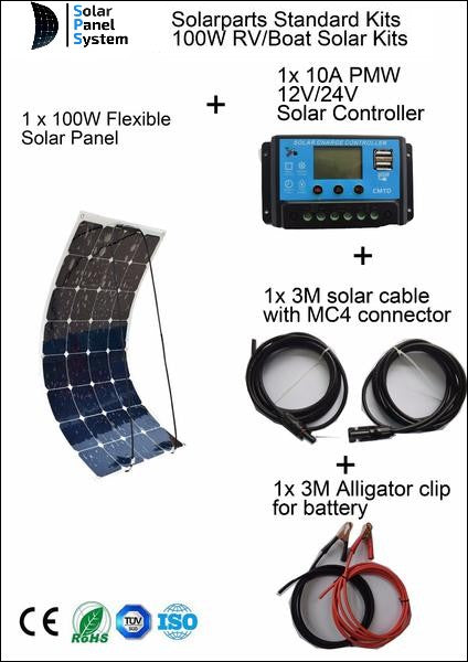 Set 100W Bendable Flexible Solar Panel Charger Lightweight