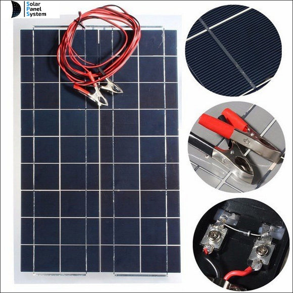 30W 12V Solar Charger Kit Cell Ultra Thin Flexible Solar Panel