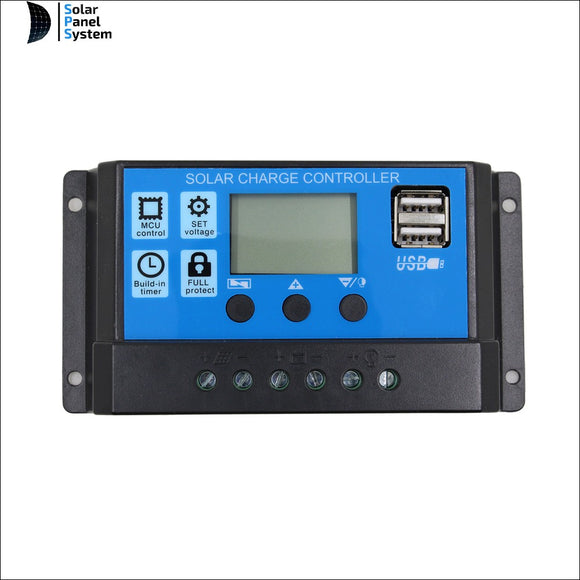 10A 20A 30A 12V/24V Solar Controller LCD Solar Panel Regulator Charge Controller Dual USB Port