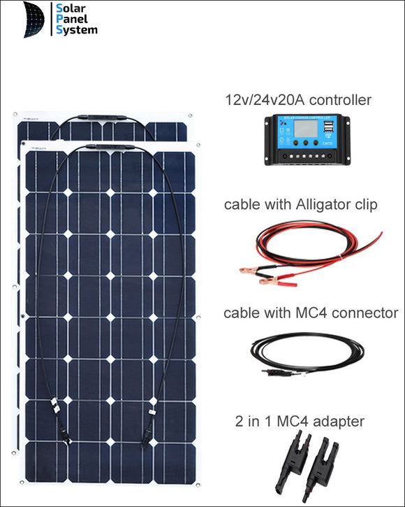 Set 200W Bendable Flexible Solar Panel Charger Lightweight