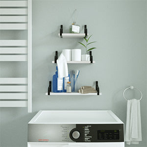 Floating Shelves Wall Mounted Set of 3  Washed White Color