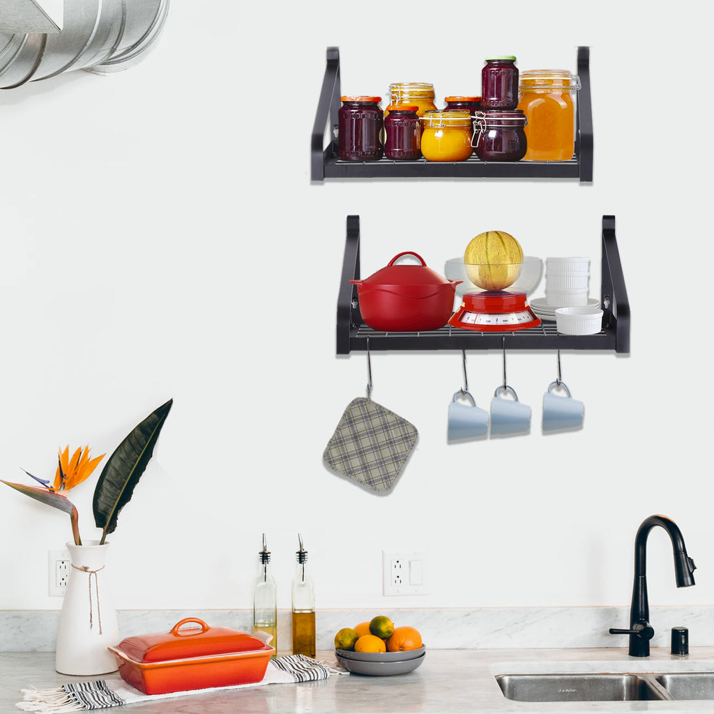 Pot Rack Wall Mounted Set of 2 Black