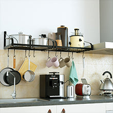 Love-KANKEI Pot Rack Wall Mounted Set of 2 Black