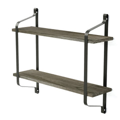 Love-KANKEI Industrial Wood Wall Shelves for Pantry Weathered Grey