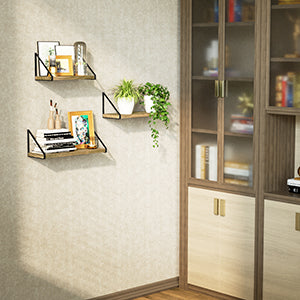 Love-KANKEI Right-angled Floating Shelves Set of 3 Carbonized Black