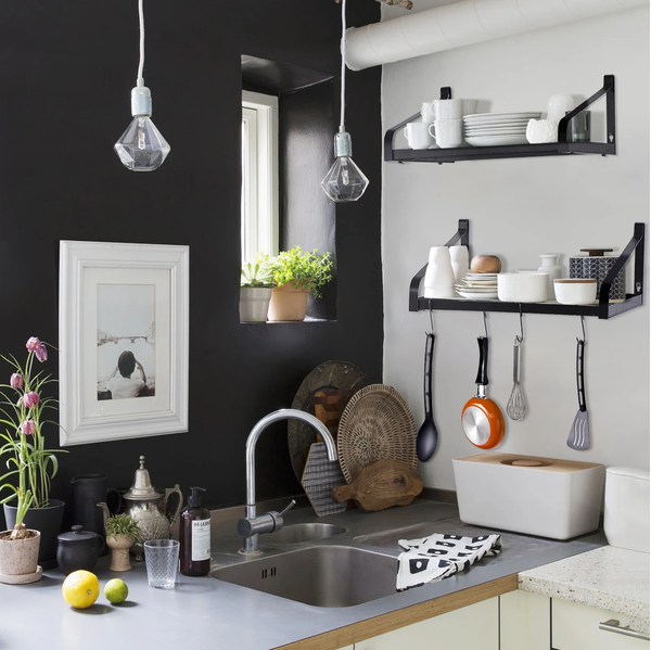 kitchen wall pot rack