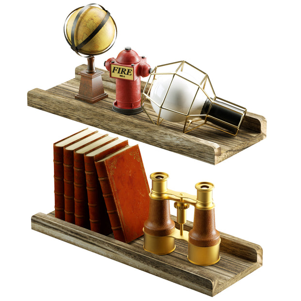 Love-KANKEI Rustic Wood Wall Shelves Set of 2 L Shape