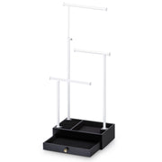 Love-KANKEI Jewelry Tree Stand with Drawer White and Black