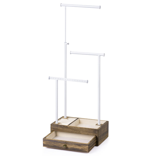 Love-KANKEI Jewelry Tree Stand With Drawer White and Carbonized Black
