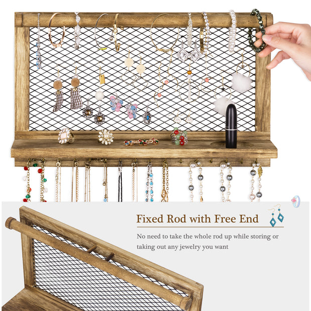 Love-KANKEI Wooden Jewelry Holder with Bracelet Rod & 16 Hooks
