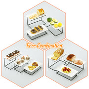Love-KANKEI Tiered Serving Stand with 3 White Rectangular Platters