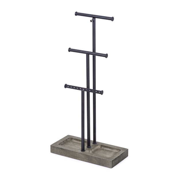 Love-KANKEI Jewelry Tree Stand Black and Weathered Grey