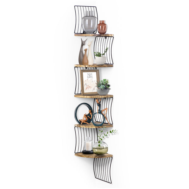 Love-KANKEI Harp Design Corner Shelf Wall Mount of 5 Tier Carbonized Black