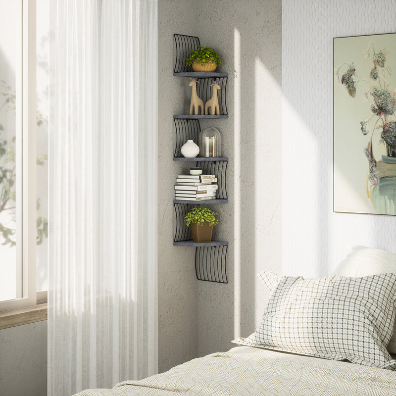 Love-KANKEI Harp Design Corner Shelf Wall Mount of 5 Tier Weathered Grey