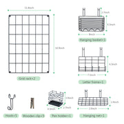 Love-KANKEI Wall Wire Grid Panel Set of 2