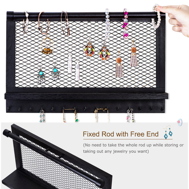 Love-KANKEI Wooden Jewelry Holder with Bracelet Rod & 16 Hooks Weathered Black