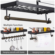 Love-KANKEI Pan Pot Organizer Wall Shelf with Towel Bar and 8 Hooks