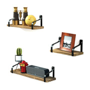Floating Shelves Wall Mounted Set of 3 Carbonized Black