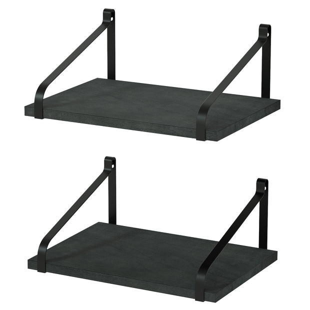 Love-KANKEI Floating Shelves Wall Mount Set of 2 Weathered Black