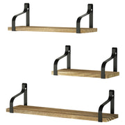Love-KANKEI Floating Shelves Wall Mounted Set of 3 Carbonized Black