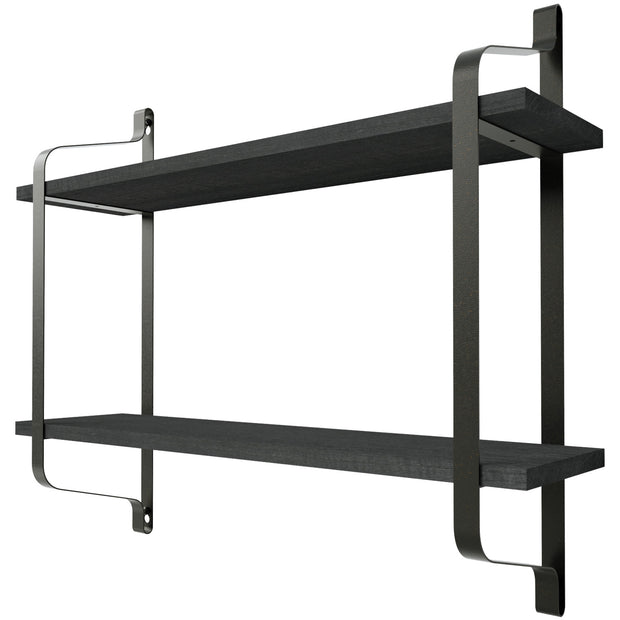 Love-KANKEI 2 Tier Wood Storage Shelf Heavy Duty Weathered Black