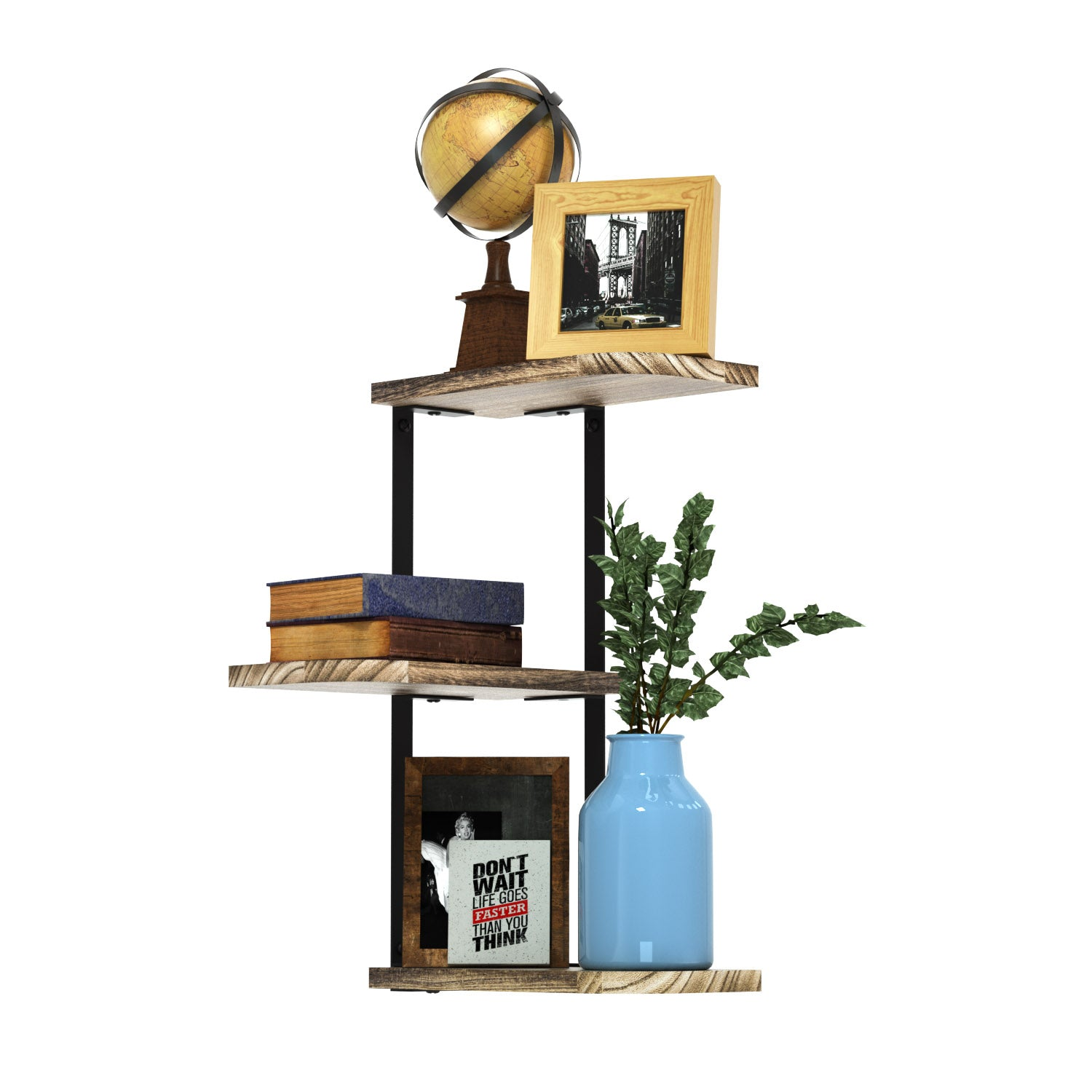 Love-KANKEI Corner Shelf Wall Mount of 5 Tier Rustic Wood Floating Shelves Wall Shelves for Bedroom Living Room Bathroom Kitchen Office and More Weathered Black