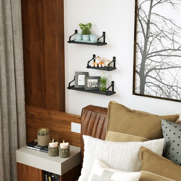 Floating Shelves Wall Mounted Set of 3 Weathered Black