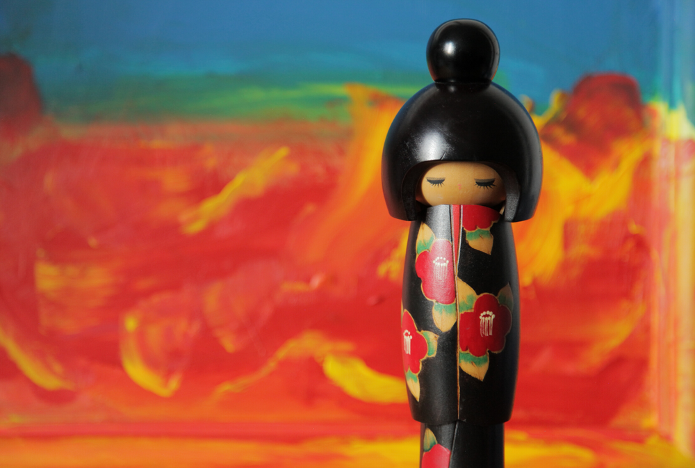 Tall Contemporary Japanese Kokeshi Doll - Jackdaw Living