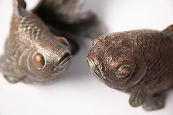 A Pair of Vintage Bronze Coloured Resin Koi Carp - Jackdaw Living