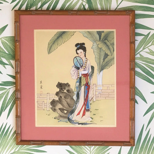 Jackdaw Living - Vintage Chinese Lady with a Blue Fan Silk Painting in a Faux Bamboo Frame