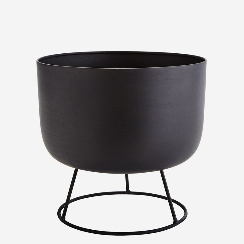 Black Plant Pot with Stand - Jackdaw Living