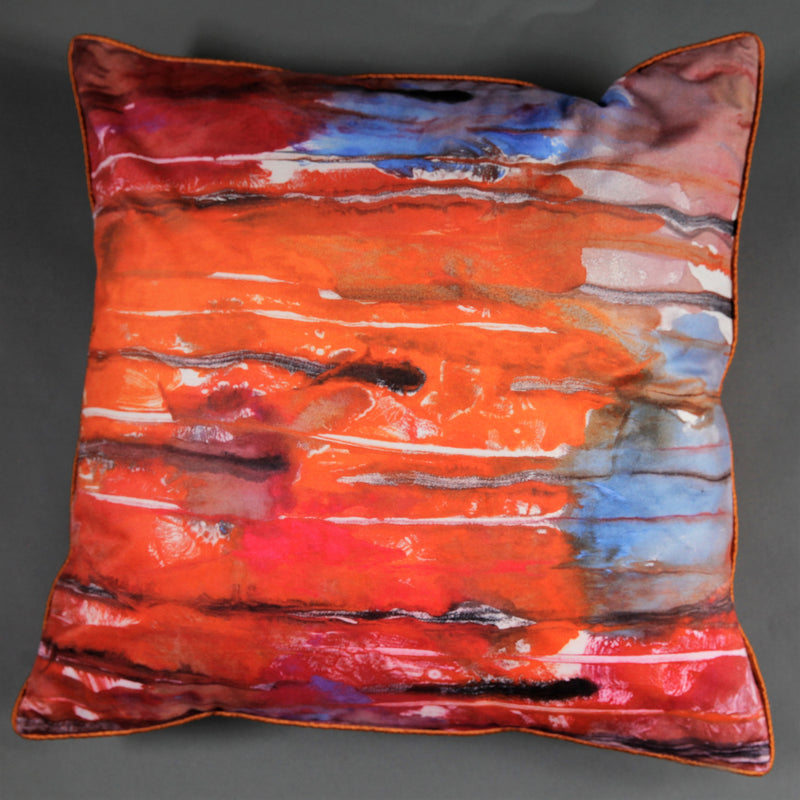 Orange, Red and Blue Abstract Velvet Cushion Cover - Jackdaw Living