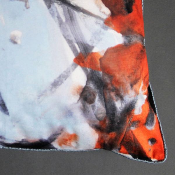 Pale Blue and Orange Abstract Velvet Cushion Cover - Jackdaw Living