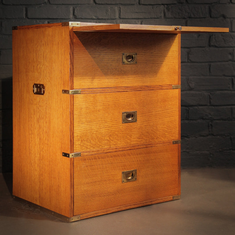 Vintage Oak Campaign Chest - Jackdaw Living