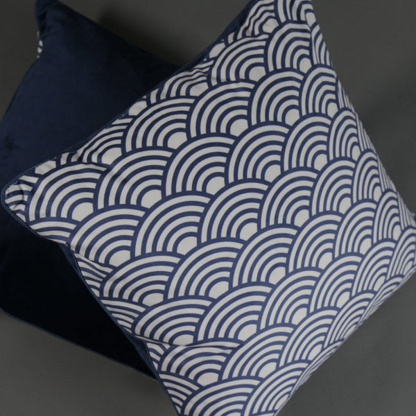 Chinoiserie Blue Waves Velvet Cushion Cover - Jackdaw Living