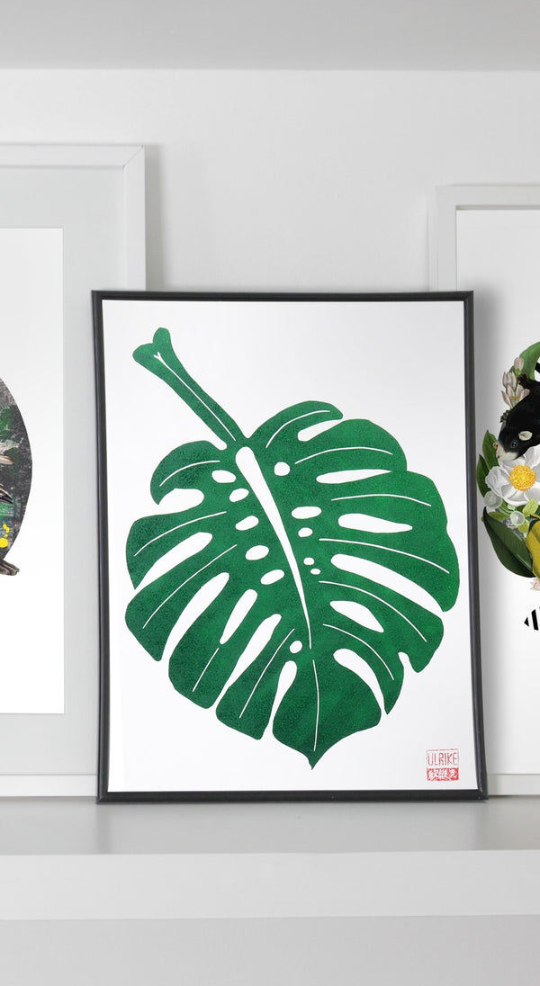 Monstera Leaf Lino Cut Print