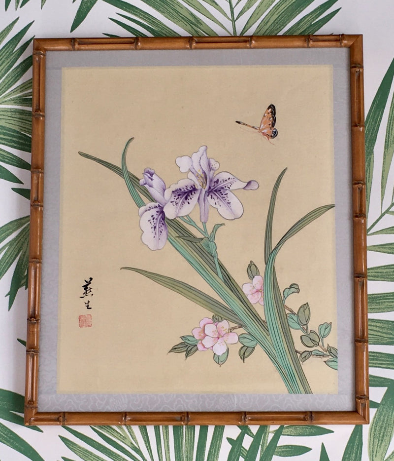 Jackdaw Living - Vintage Chinese Butterfly, Purple Iris and Blossom Silk Painting in a Faux Bamboo Frame