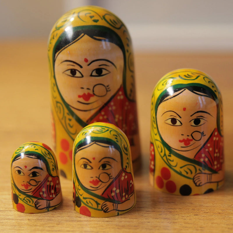 Vintage Indian Ladies in Saris Nesting Dolls - Jackdaw Living