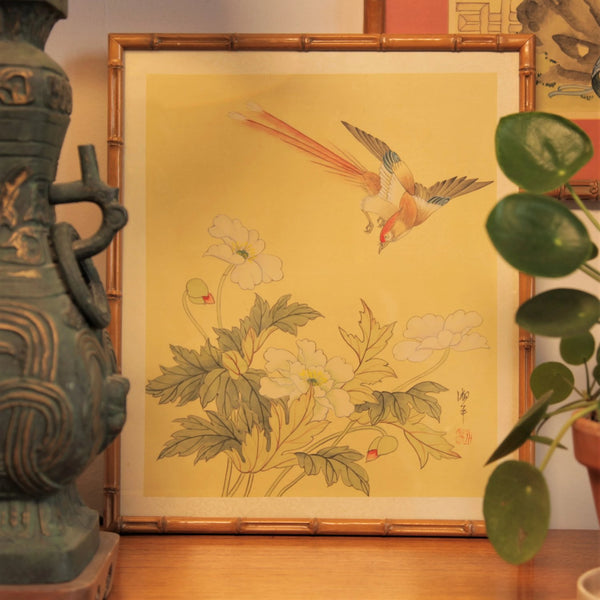 Jackdaw Living - Vintage Chinese Bird and Flower Silk Painting in a Faux Bamboo Frame.