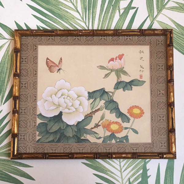 Jackdaw Living - Vintage Chinese Butterfly and Flowers Silk Painting in a Faux Bamboo Frame (White and Pink Peony's)