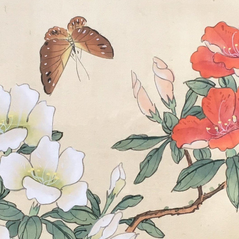 Jackdaw Living - Vintage Chinese Butterfly and Flower Silk Painting in a Faux Bamboo Frame (White And Coral Peony's)