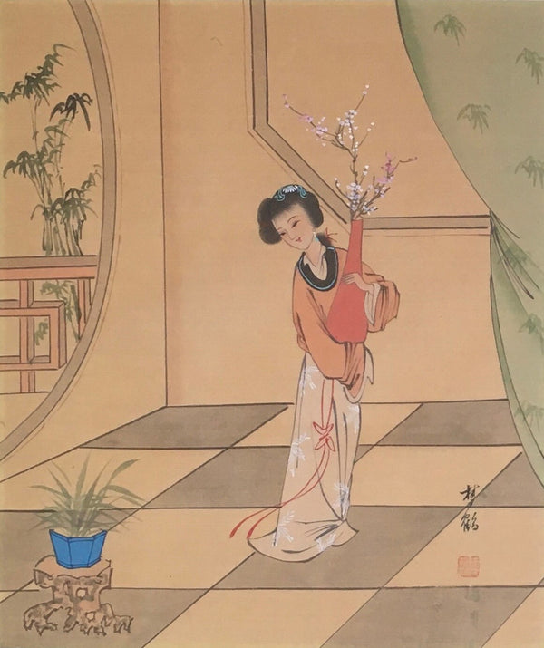 Jackdaw Living - Vintage Chinese Lady with a Vase and Cherry Blossom Silk Painting in a Faux Bamboo Frame