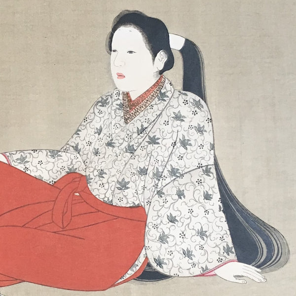 Jackdaw Living - Vintage Japanese Female Print Long Haired Reclining Lady with a Koto