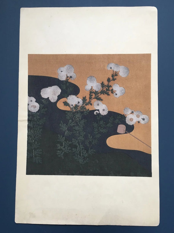 Jackdaw Living - Vintage Japanese Flower Print,  Chrysanthemums by a River Bed.
