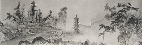 Jackdaw Living - Vintage Japanese Landscape Print Temple among mountains and trees