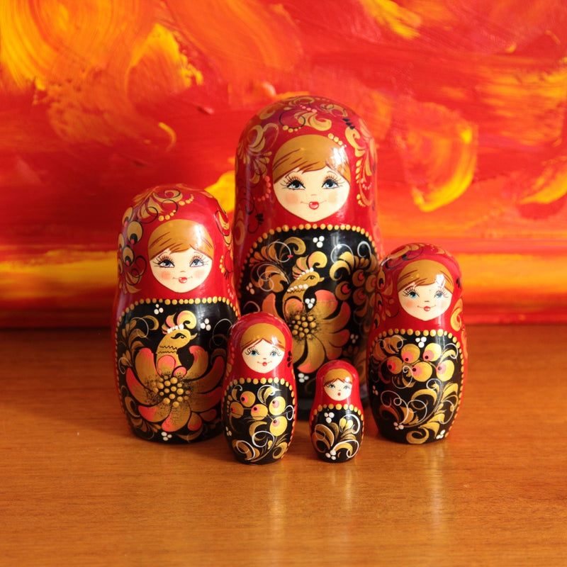 Matryoshka Nesting Dolls Decorated with the Russian Folk Tale 'Firebird' - Jackdaw Living