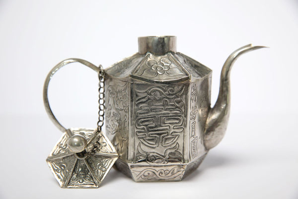 Unique Vintage White Metal Chinese Teapot - Jackdaw Living
